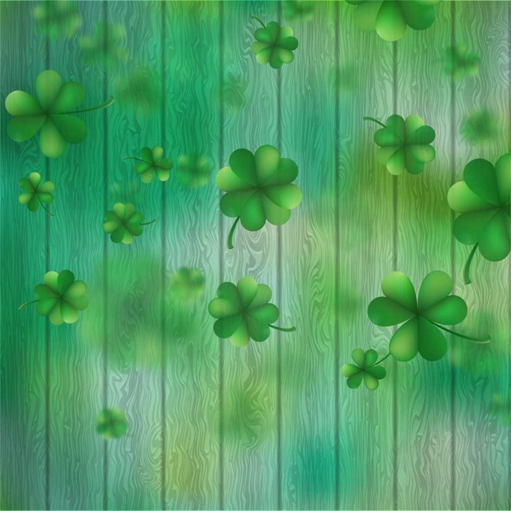 6x6ft Polyester Photography Backdrop Happy St Patricks Day Lucky Irish Shamrock Green Four-Leaf Clover River Bokeh Sparkle Spots Nature Spring Photo Background Children Baby Adults Portraits