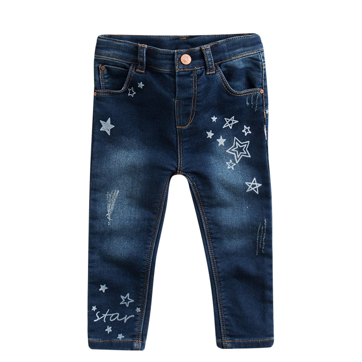 marc janie Baby Toddler Girls Star Pattern Denim Jeans with Packets