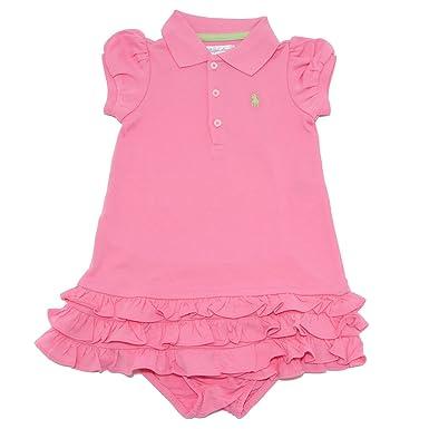 online retailer d0a79 3097f Ralph Lauren 7413W vestito bimba girl pink cotton dress + ...