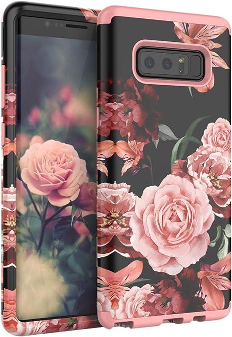 Tianli Coque Samsung Galaxy Note 8 superbes Fleurs pour fille/femme Surface lisse trois Couche résistant aux chocs Housse de protection, Rose Gold