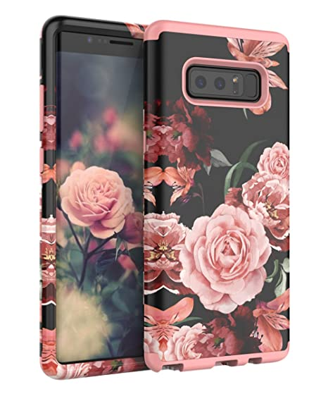 3027809e53e5 Amazon.com: TIANLI Galaxy Note 8 Case Cute Flowers for Girls/Women Smooth  Surface Three Layer Shockproof Protective Cover,Floral Rose Gold: Cell  Phones & ...