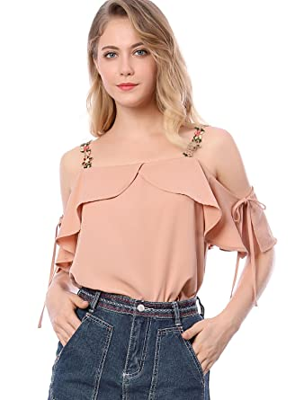 733fa6ec4ed Allegra K Women's Floral Strap Off Shoulder Blouse Ruffle Top Pink XS (US  ...