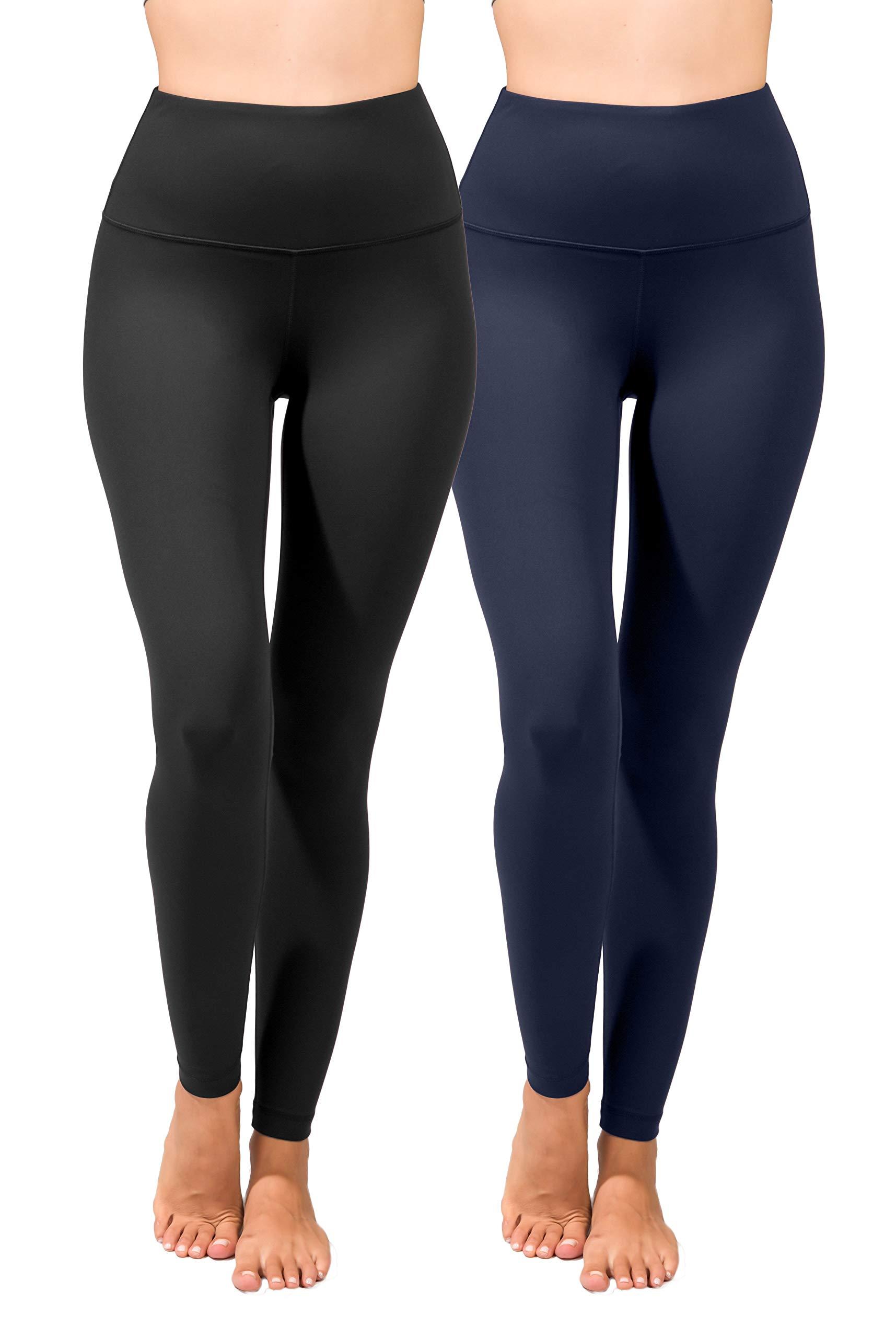 90 Degree By Reflex High Waist Power Flex Legging - Tummy Control - Black & Moonlit Ocean 2 Pack - Medium by 90 Degree By Reflex