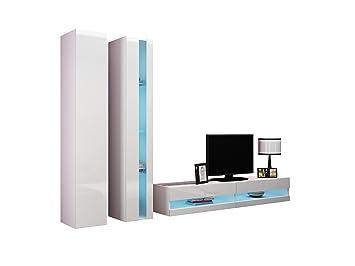Wohnwand Vigo New V Anbauwand, Design Mediawand, Modernes Wohnzimmer Set,  Hängeschrank TV Lowboard