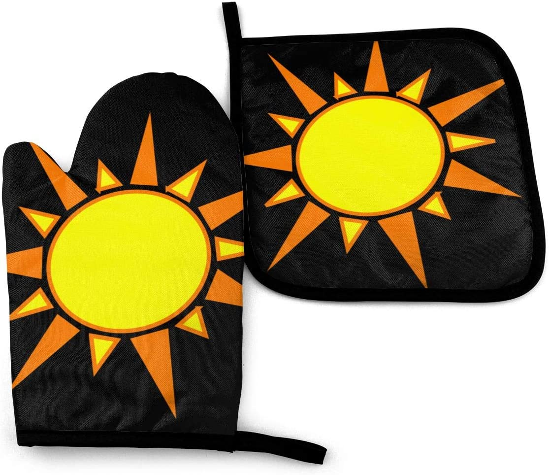 NOT Cool Sun Clip Art Oven Mitts and Potholders (2-Piece Sets)-Extra Long Professional Heat Resistant Pot Holder & Baking Gloves