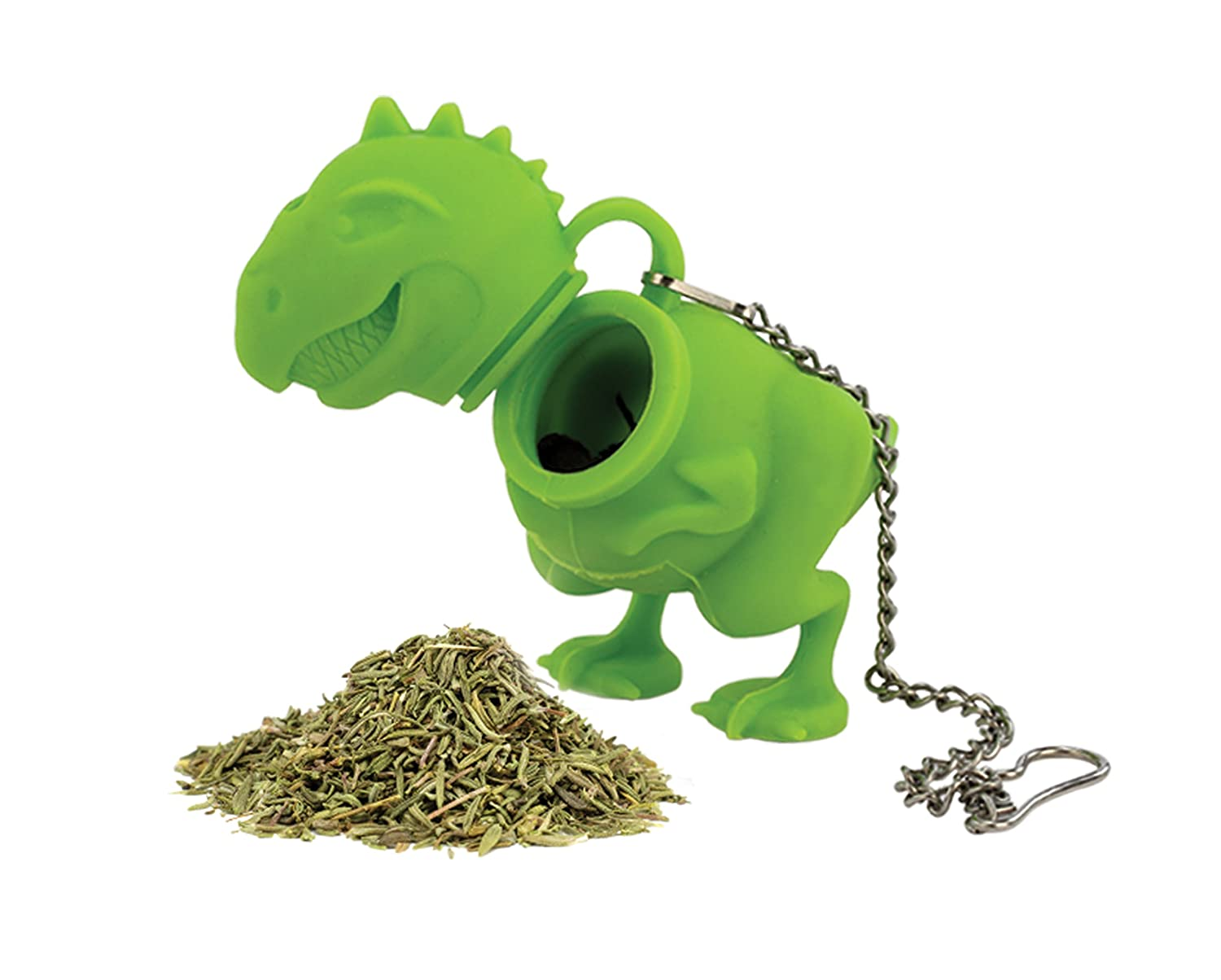 Barbuzzo T-Rex Tea Infuser - Tyrannosaurus Rex Shaped Portable Loose Leaf Tea Filter with Hanging Chain - Perfect for Tea and Dinosaur Enthusiasts UTU3GI0026
