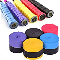 GHKJOK Tennis Racket Grip Tape, Racket Grip Tape for Tennis/Badminton Racquetball/Fishing Rod/Bike bar/Squash. 5Pcs(Purple, Black, Yellow, Red, Blue)