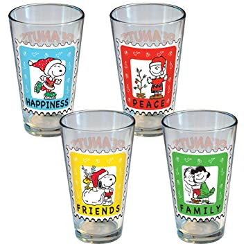 amazon icup peanuts holiday stamp 4 pack pint set by icup 並行