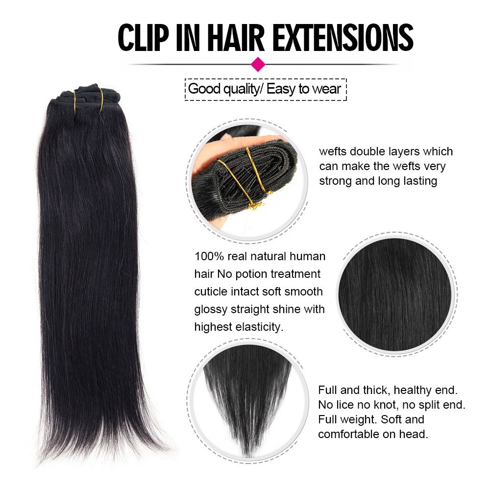 Amazon 22inch Clip In Hair Extensions Soft Straight Hair Weft