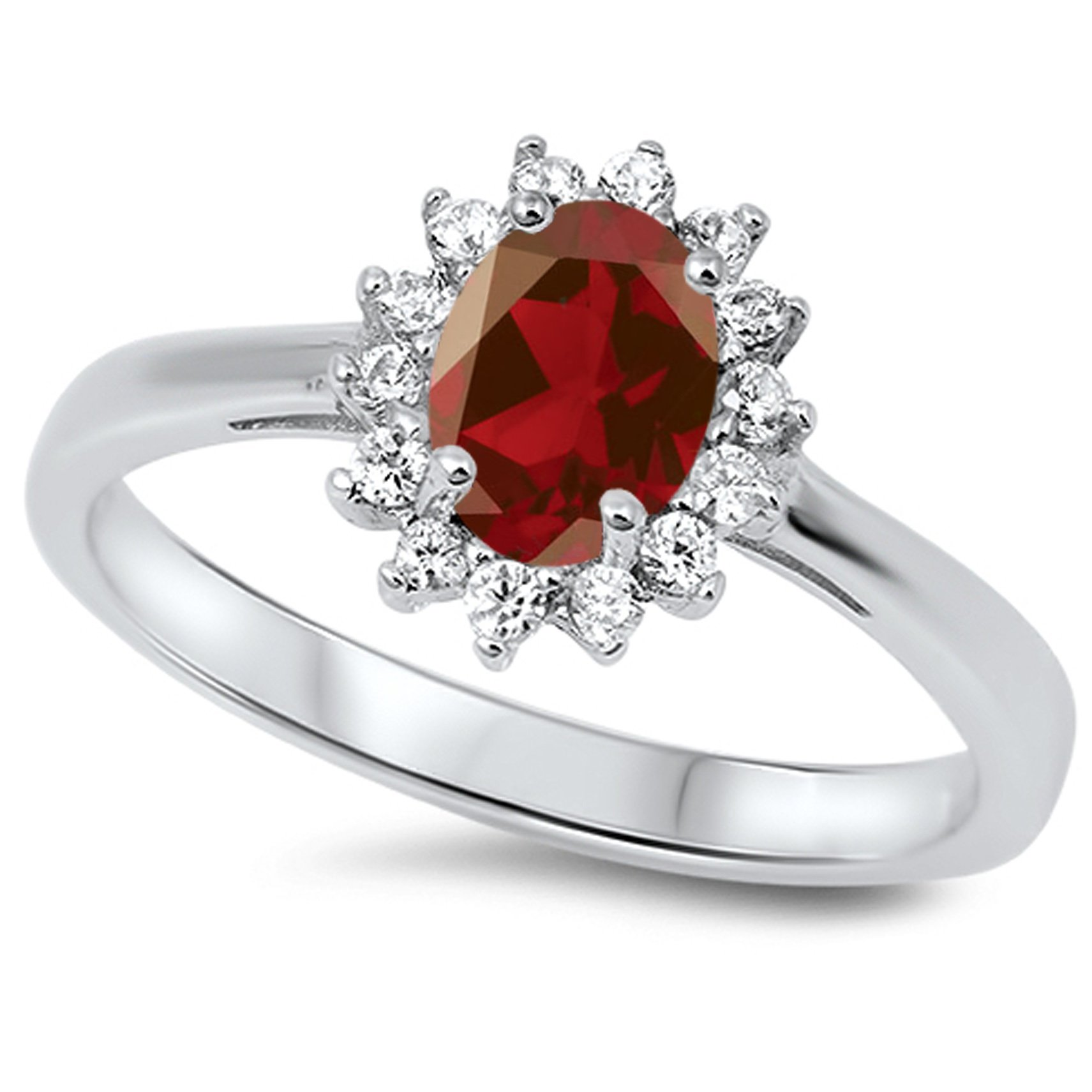 925 Sterling Silver Faceted Natural Genuine Red Ruby Oval Flower Halo Ring Size 7 by Sac Silver