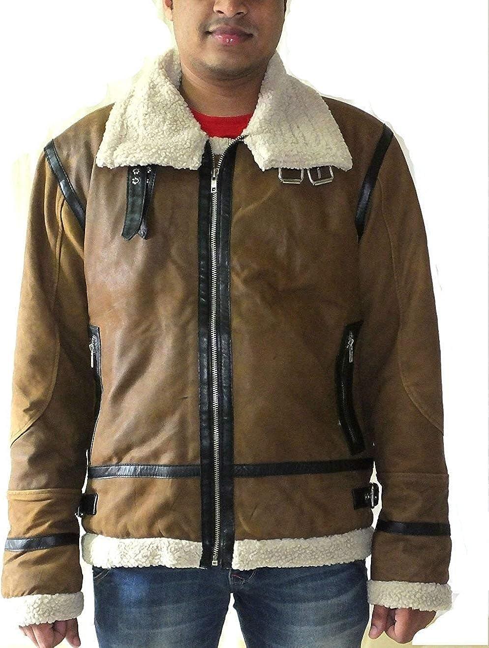 World of Leather Distressed Lambskin Leather Jacket Fur Biker Moto