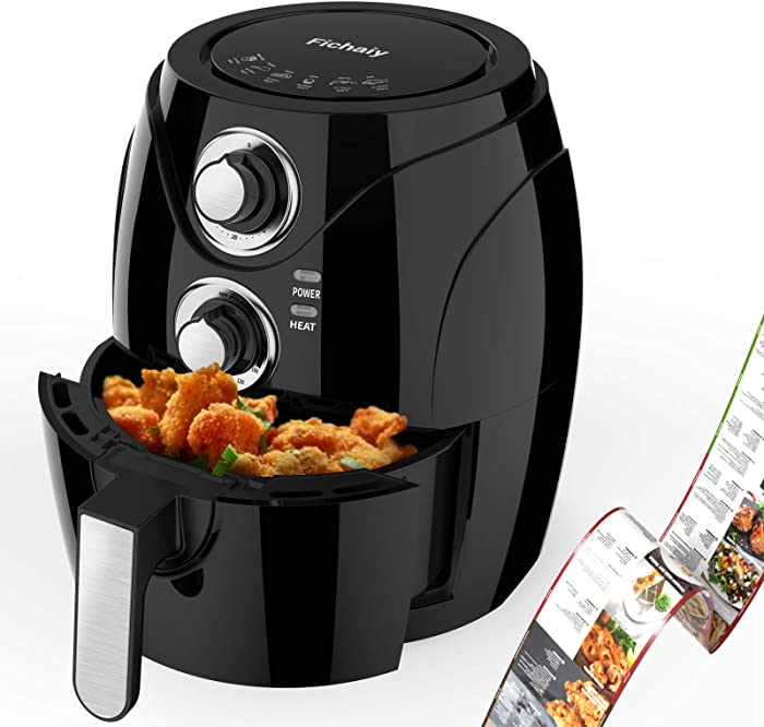 Electric Temperature Control Air Fryer - Fichaiy 3.8QT Personal Compact Food Maker, Precise Time Setting,1200W Multifunctional Hot Air Fryers,Oil-less Healthy Fryer, Recipe Book, Nonstick Basket,Black