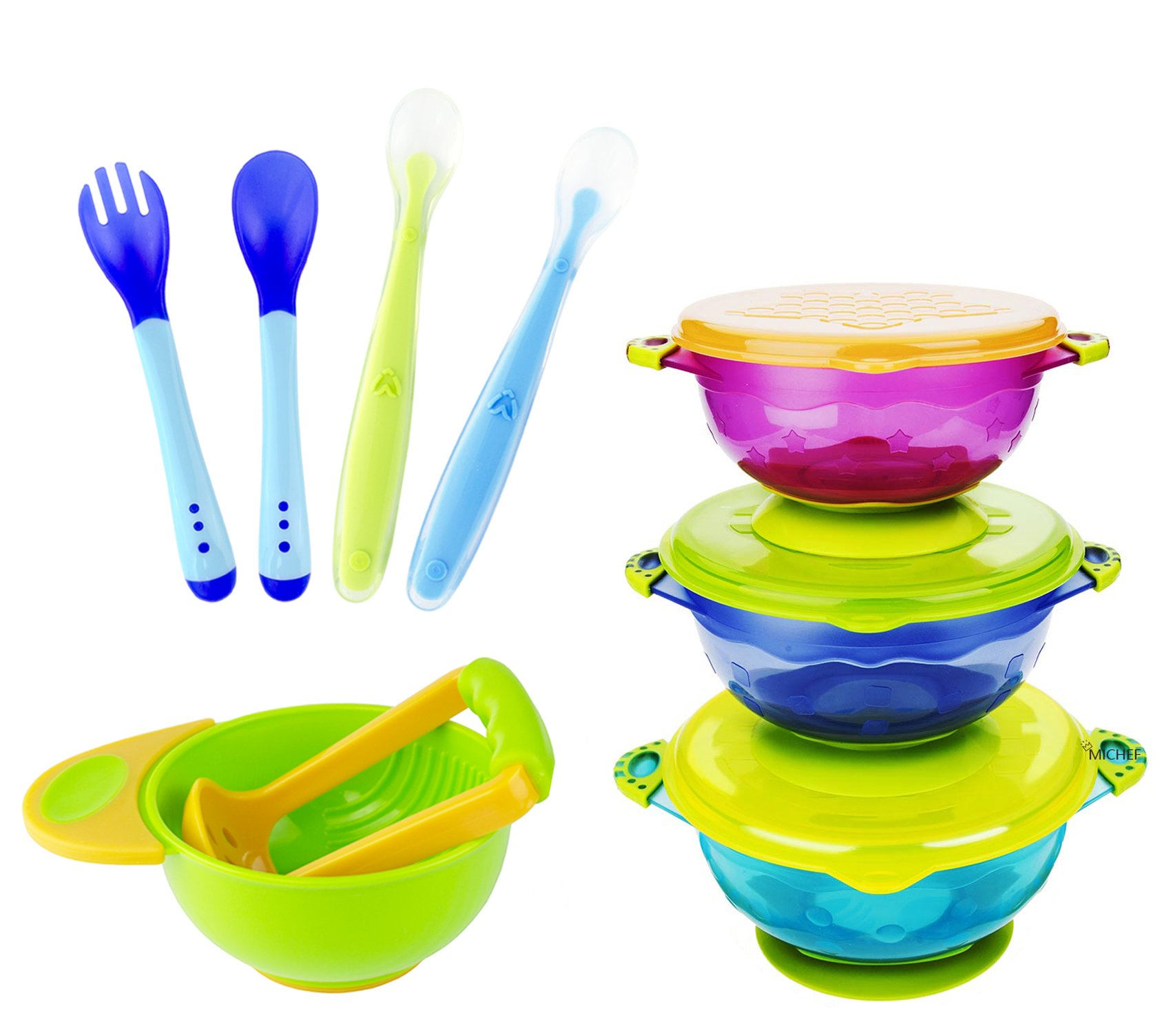 MICHEF Baby Bowls, Baby Feeding Bowls Set with Mash and Serve Bowl, 2 Hot Safe Spoon and Fork, 2 Soft-Tip Silicone Infant Spoons - Perfect Baby Shower Gift Set of 3 Spill Proof Suction Bowls with Lids by MICHEF