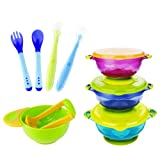 Amazon Price History for:MICHEF Baby Bowls, Baby Feeding Bowls Set with Mash and Serve Bowl, 2 Hot Safe Spoon and Fork, 2 Soft-Tip Silicone Infant Spoons - Perfect Baby Shower Gift Set of 3 Spill Proof Suction Bowls with Lids