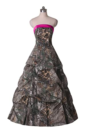 Sunvary Womens Prom Gown Evening Dress With Camo Strapless Ball Gown Ruffles Size 2- Fuchsia