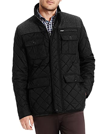 Vince Camuto Men's Quilted Jacket with Plaid Yoke at Amazon Men's ... : mens quilted jacket with shoulder patch - Adamdwight.com