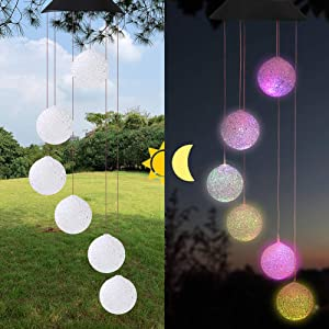 Eleven Direction Solar String Light Wind Chimes,Gifts for Mom,Auto Charge Color Changing Crystal Ball Solar Lights,Outdoor Decorations for Garden Lawn Patio Yard Porch Window