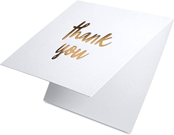 Gold Luxury Gold Foil Letterpress Thank You Cards and Gray Envelopes 20 Pack Opies Paper Company