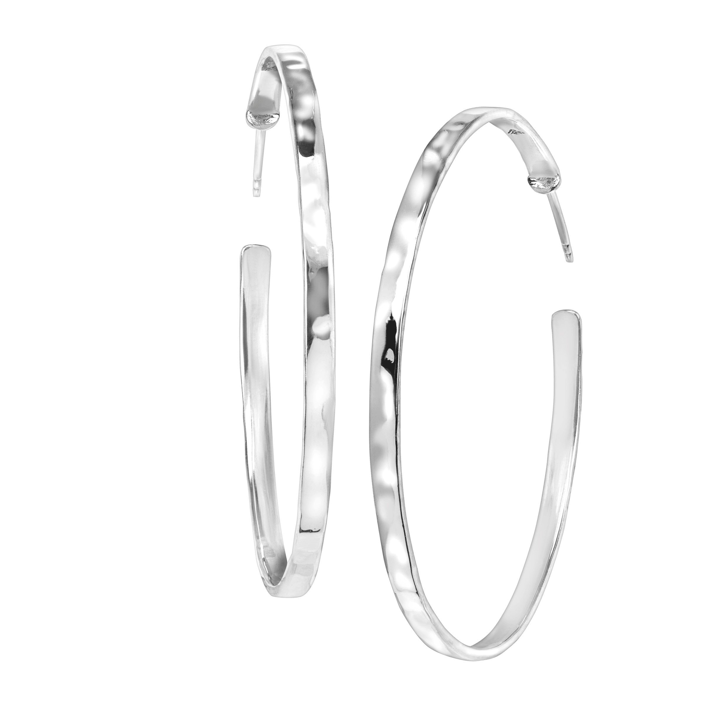 Silpada 'Circle Up' Hoop Earrings in Hammered Sterling Silver
