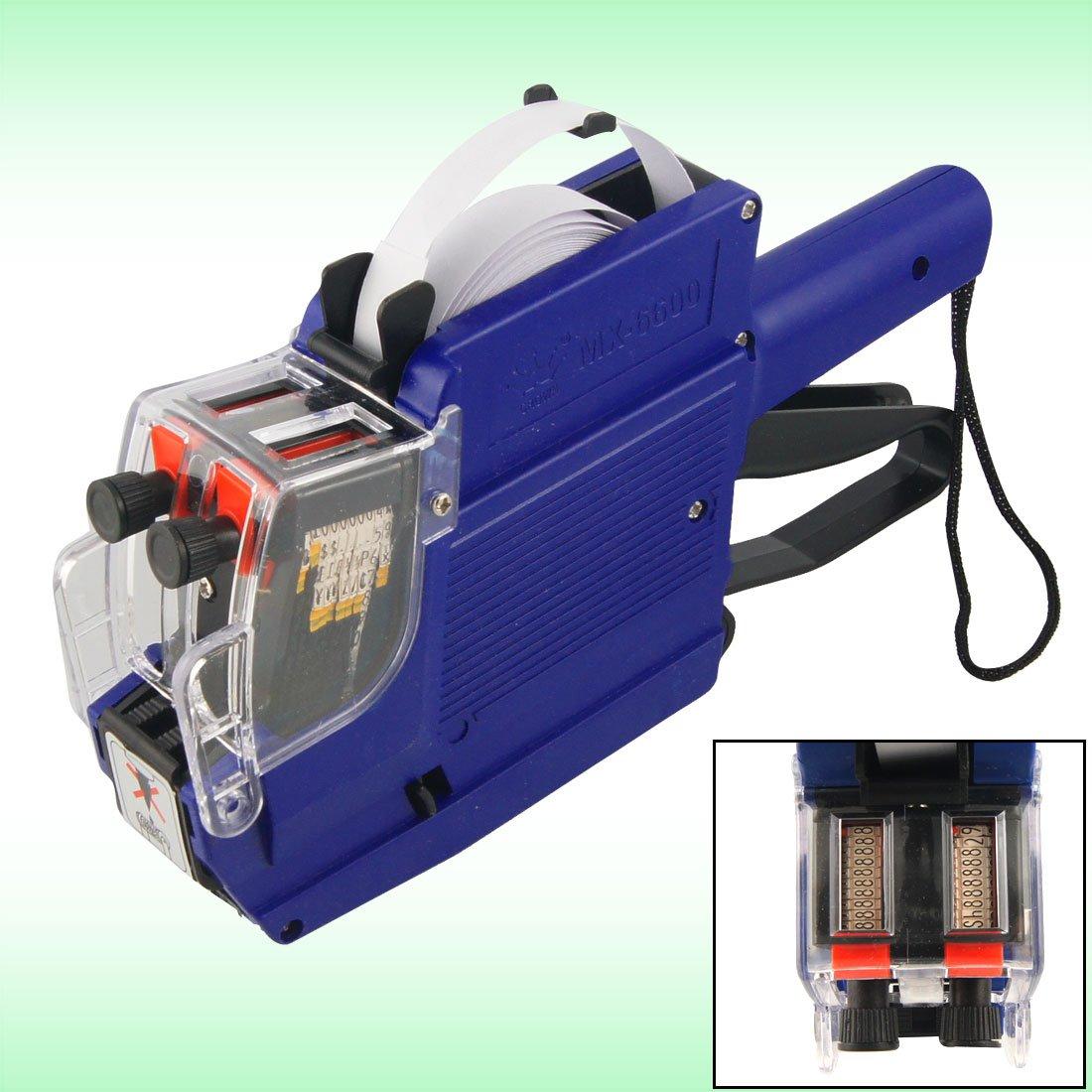 sourcingmap® Supermanenteercato aiutante blu custodia in plastica a doppia fila etichettatrice Prezzo pistola Tag a12083000ux0445