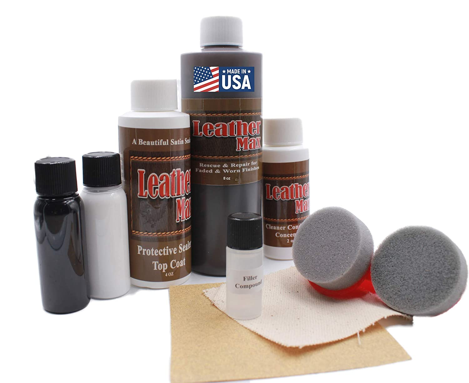 Furniture Leather Max MEGA Kit/Leather Restorer / 8 Oz Refinish 2 Oz Conditioner / 4 Oz Top Coat/Black and White 1 Oz Color Changer/Sponge (Leather ...