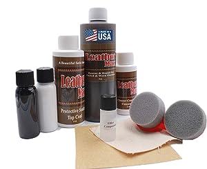 Furniture Blend It On MEGA Kit/Leather Restorer/8 Oz Refinish 2 Oz Conditioner/4 Oz Top Coat/Black and White 1 Oz Color Changer/Sponge (Leather Repair Kit) (Taupe)