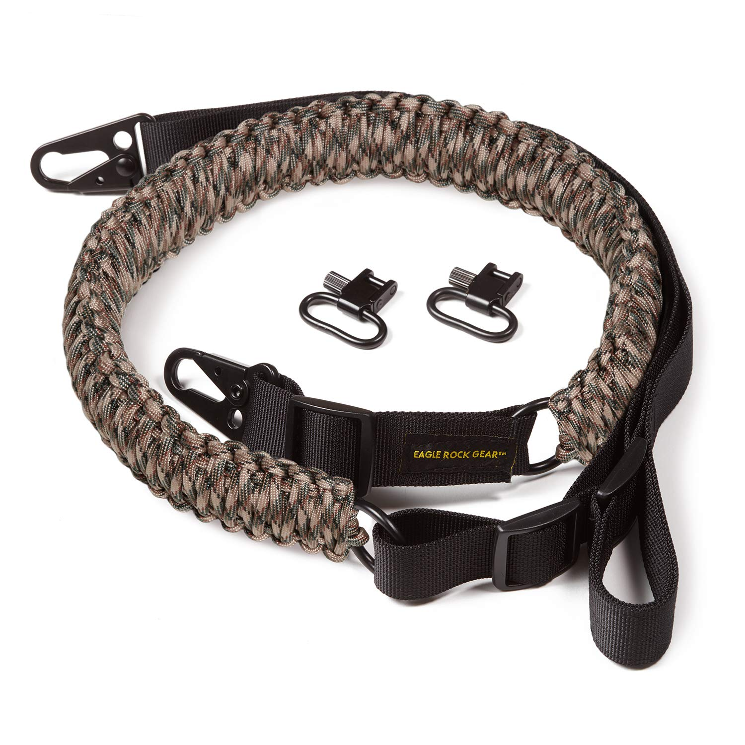 Eagle Rock Gear 550 Paracord 2 Point Gun Sling for Rifles, Shotguns, Crossbows, Airsoft - with Easy Adjustable Strap, HK Clips, Swivels - US Patent Pending (Camouflage) by Eagle Rock Gear