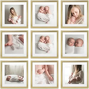 Sheffield Home Decor Collection- 9 Piece Picture Frame Set, Gallery Set, 12x12 in, Matted to 8x8 (Gold)