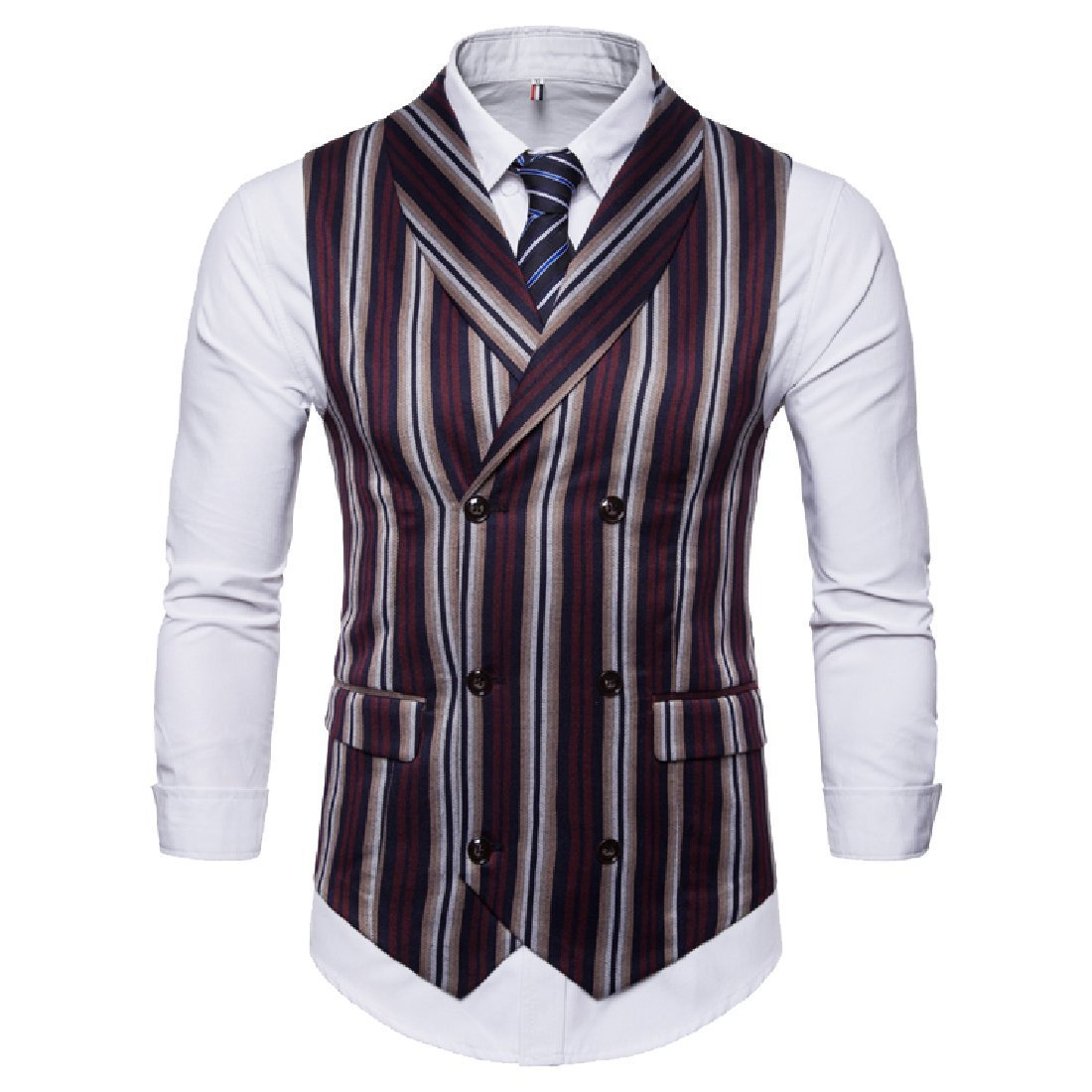 Abetteric Men's Stripe Casual Fitted Double Breasted Suit Separate Vest