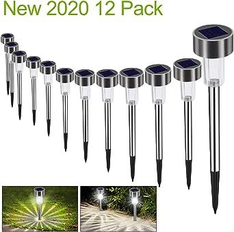 Luces Solares Jardín LED Bawoo 12 Pack Jardín Lámpara de Camino de Paisaje Iluminación de Exterior Impermeable IP65 Luce de Solare Acero Inoxidable Blanco Para Patio Césped Pasillo Terraza Sin Cables: Amazon.es: