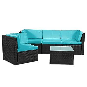 Rattan4Life Madeira Rattan Schwarz/türkis Polyrattan Gartenmoebel  Sitzgruppe Lounge Moebel Set Tisch Gartentisch Sessel Sofa