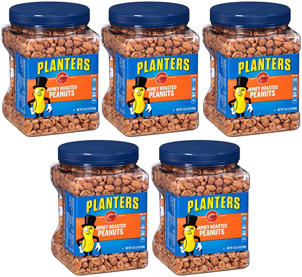 Planters Honey Roasted Peanuts, 34.5 Ounce, 10 Tubs
