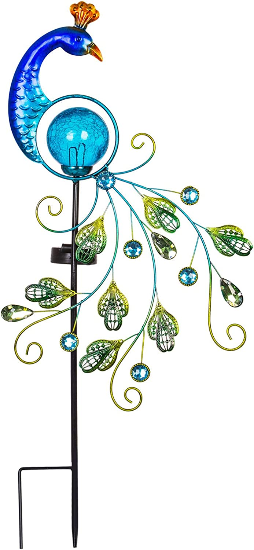VEWOGARDEN Garden Metal Peacock Solar Lights Stake, Waterproof Landscape Path Lights for Outdoor Patio Yard Decorations Blue