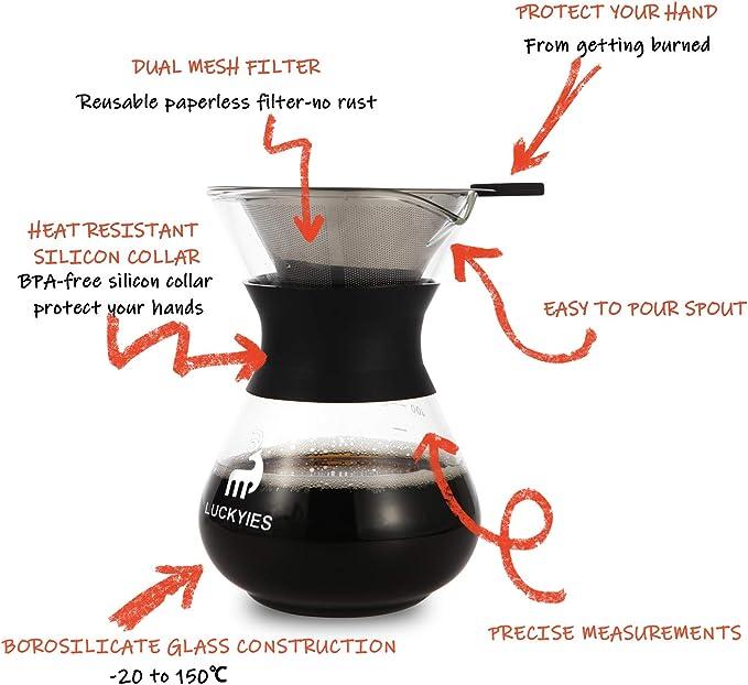 Luckyies Manual Pour Over – Cafetera Jarra de café Jarra con ...