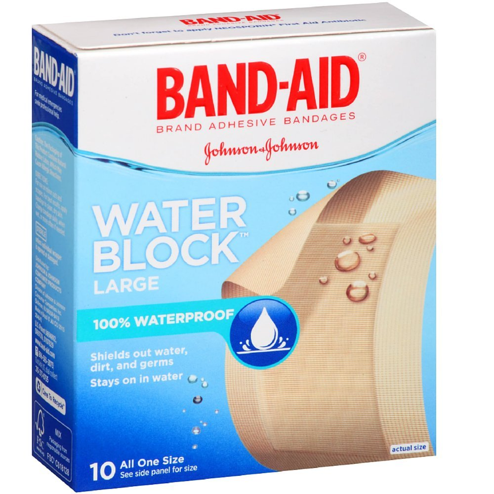 BAND-AID Adhesive Bandages, Water Block Large 10 Each (Value Pack of 6)