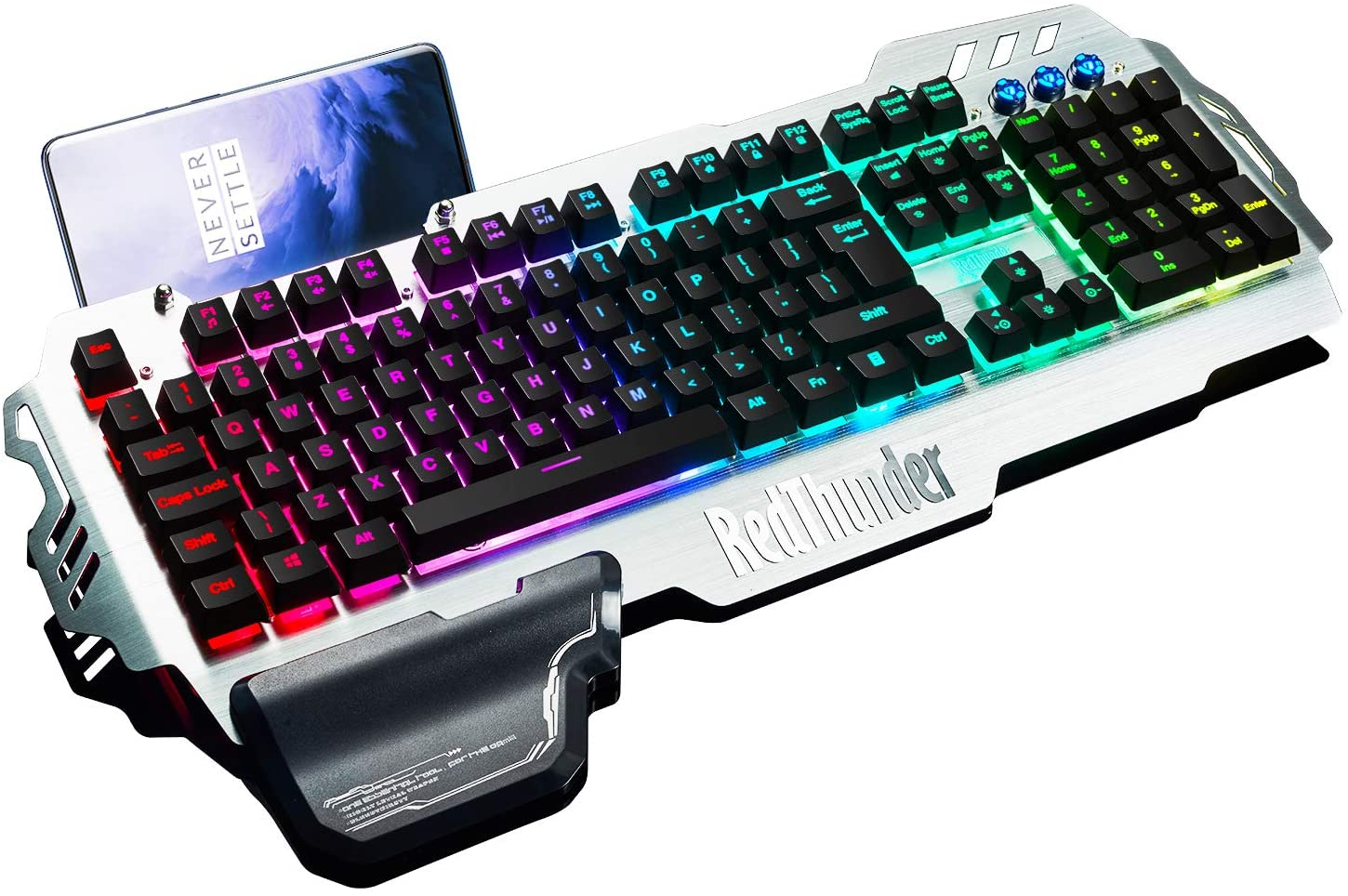 RedThunder K900 Gaming Keyboard, RGB Backlit Semi Mechanical Keyboard with Wrist Rest, Water-Resistant USB Wired Hybrid Ergonomic Keyboard, Teclado Gamer for Desktop Computer PC Mac PS4