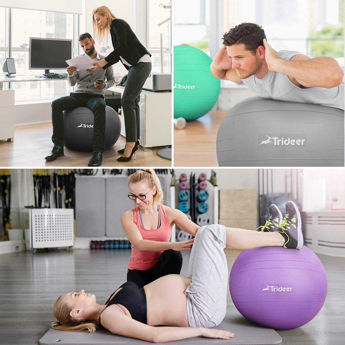 Trideer Exercise Ball (45-85cm) Yoga Ball Chair, Anti-Burst & Extra Thick, Birthing Ball with Quick Pump, Supports 2200lbs, Stability Ball (Office and Home) by Trideer (Image #2)