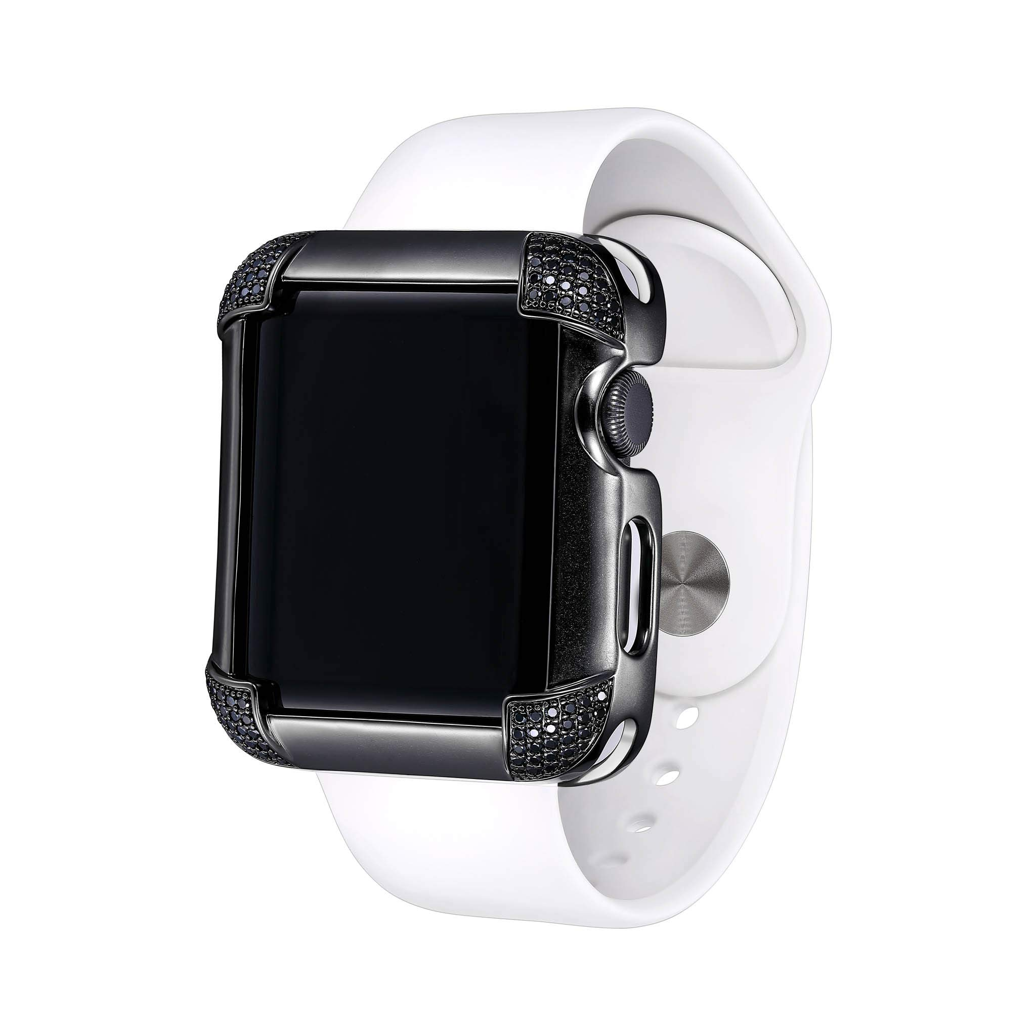 Matte Black Rhodium Plated Jewelry-Style Apple Watch Case with Genuine Spinel Pavé Corners - Large (Fits 42mm iWatch) by SkyB (Image #4)