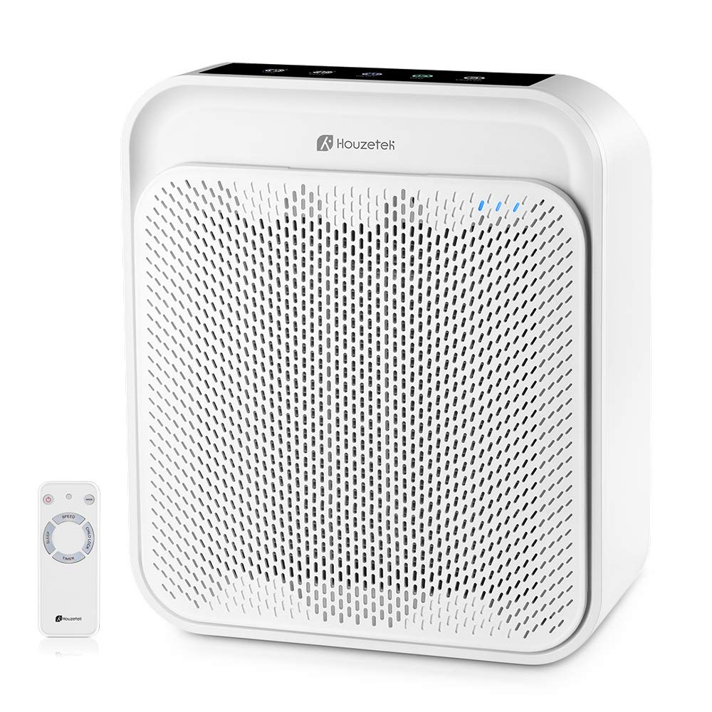 Air Purifier for Home with True HEPA Filter, Odor Eliminator Air Cleaner for Smokers, Dust, Home and Pets, WiFi Voice Remote Control, Ultra-Quiet Operation and Child Clock