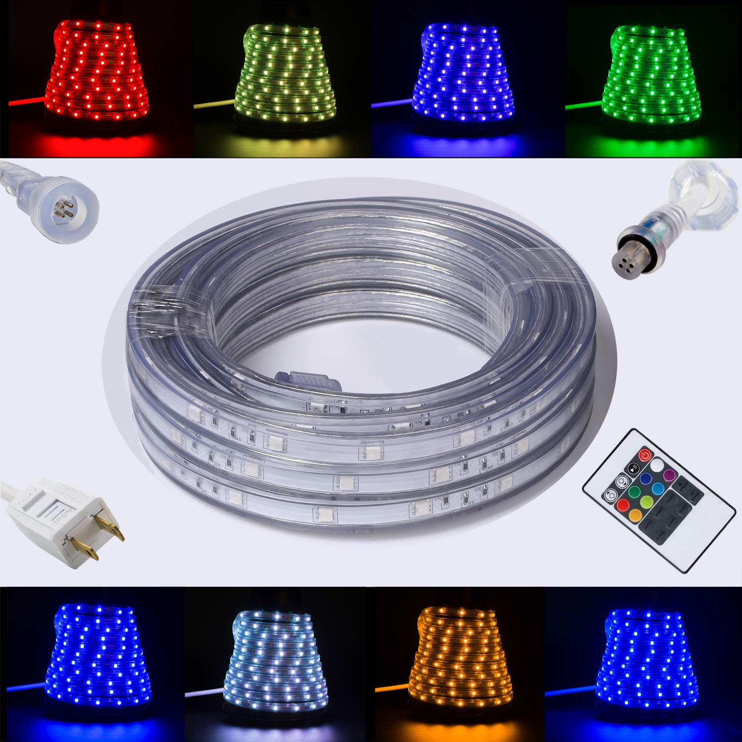 16.4ft(5m) Flexible Flat RGB LED Light Strip Rope Lights Connectable Dimmable Waterproof Weatherproof Outdoor Indoor Static 8-color and Auto Multiple Mode for Garden Patio Party Christmas Thanksgiving