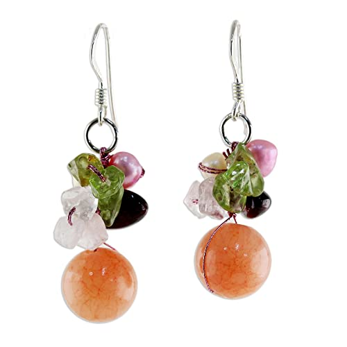 NOVICA Dyed Cultured Freshwater Pearl Earrings with Peridot, Garnet and Quartz, Strawberry Fantasy