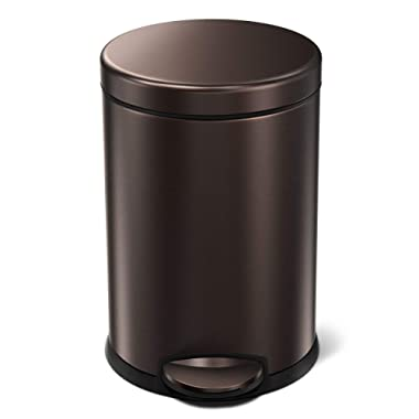 simplehuman 4.5 Liter / 1.2 Gallon Round Step, Dark Bronze Trash can