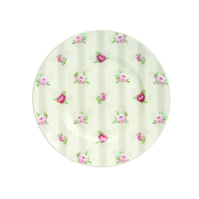 Novastyl 4060246 Vénice - Servizio da 6 piatti da dessert, in porcellana, dimensioni: 22,5 x 22,5 x 2,8 cm, colore: Rosso/Bianco