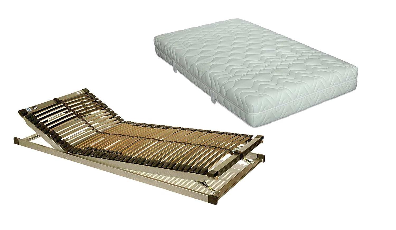 ki-Pure Komfort-Set Plus Komfort-Flex-Pur Plus XL in 90 x 200 cm im Härtegrad mittelfest – Plus Verstellbarer Lattenrost S-leepline Techno-Flex in 90 x 200 cm | sofort lieferbar