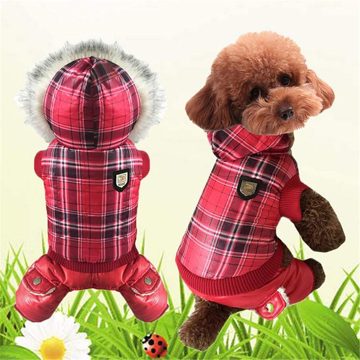 Medium Autumn and Winter New Dog Clothes Thickening Plus Velvet Warm Pet Jacket European and American Style Cotton Coat Puppy Cat
