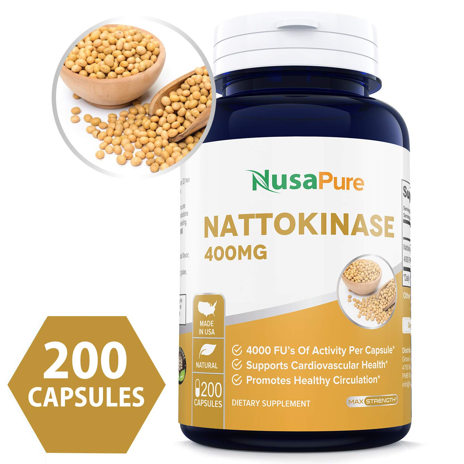 Nattokinase 400 mg 200 Capsules 4000 FU (Non-GMO & Gluten Free) Supports Cardiovascular Health, Natural Blood Thinner by NusaPure