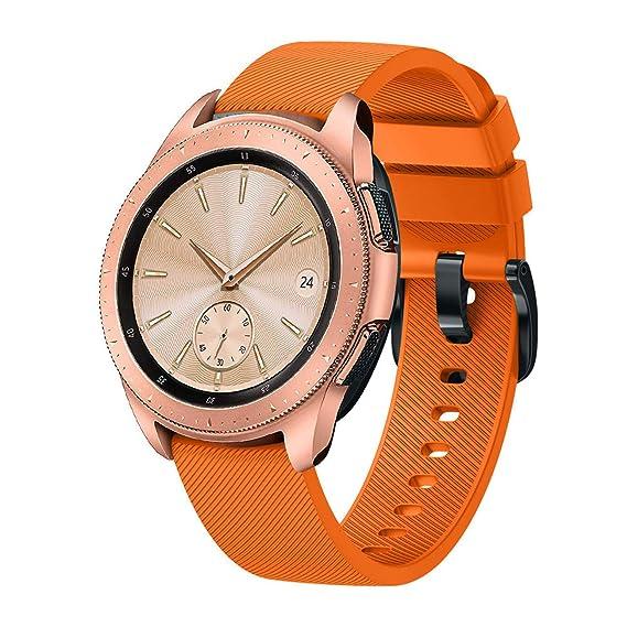 Hombre Mujer Reloj Correa De Pulsera De Silicona para Reloj Samsung Galaxy Watch 42Mm (Naranja