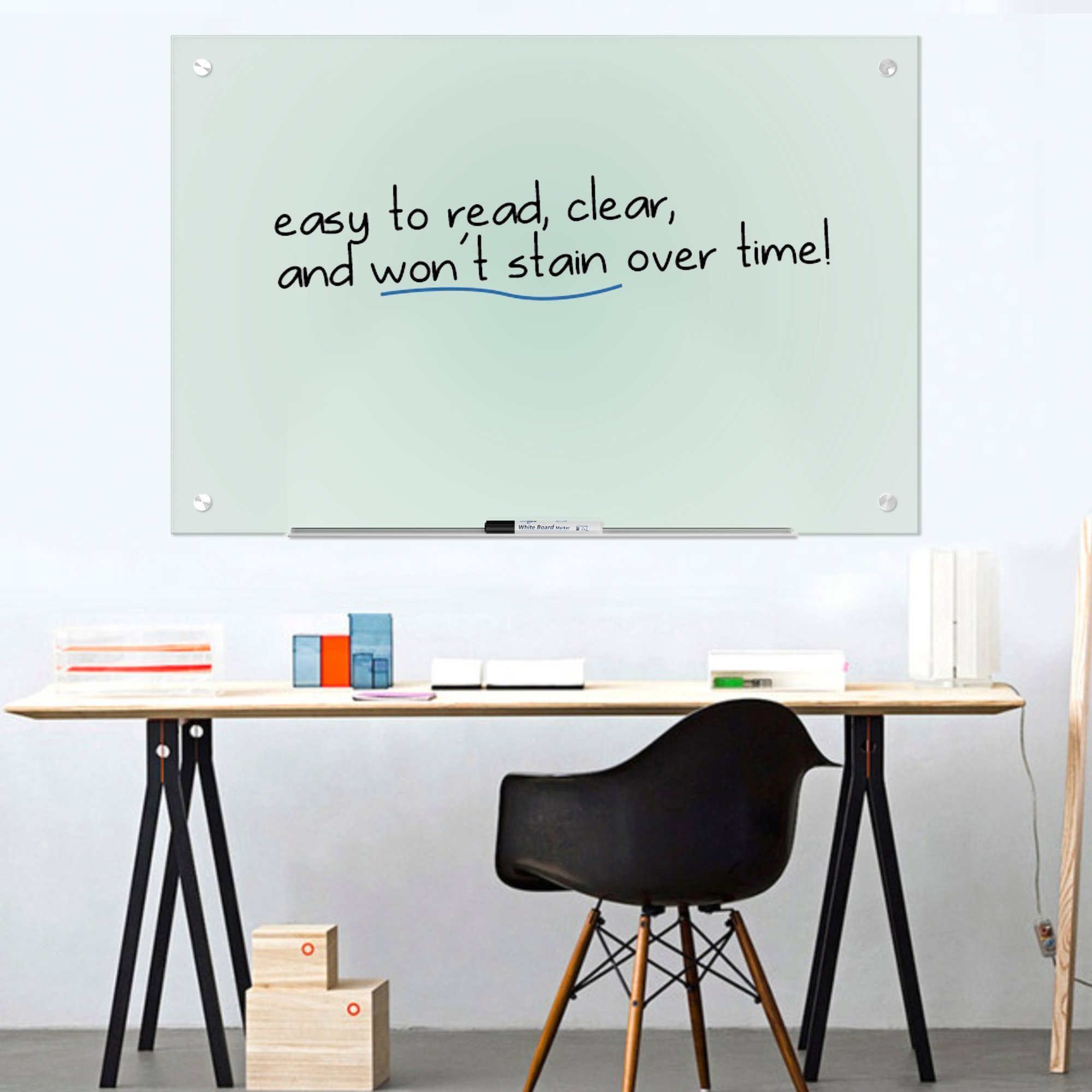 "Magnetic Glass Dry Erase Board Whiteboard 35 x 47"" Large Clear Frameless Infinity Frosted Surface Aluminum Tray Bonus Eraser 4 Markers 6 Magnets Home School Office Classroom Supplies (35 x 47 inch) by Dapper Display (Image #2)"