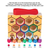 Kicoeoy Toddler Bee Hive Wooden Toys, Preschool Bee Game Motor Skills Toys for Kids Baby Early Educational Learning Colors and Sorting Counting Toddler Montessori Game Colorful Beehive Toys