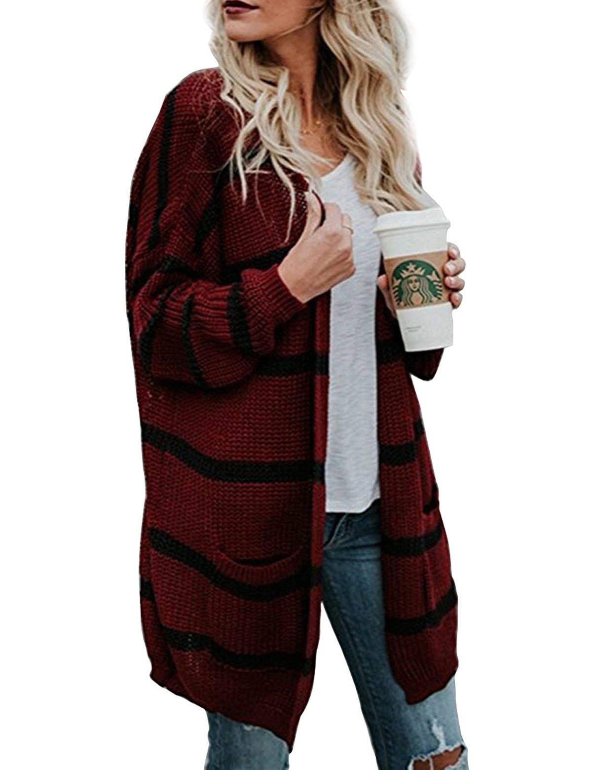 CXINS Women's Fashion Loose Open Front Striped Long Sleeve Knit Sweater Cardigan Coat with Pockets Size 3L Wine red